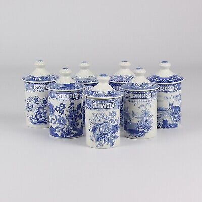 Spode Blue Room 7 X Spice Jars • 60£