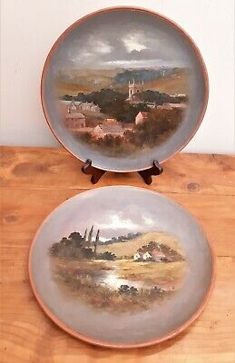Two Victorian Watcombe Torquay Pottery Painted Wall Plates Pastoral Rural 161 • 50£
