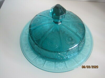 Scarce Jeanette Depression Glass ULTRAMARINE Teal Doric & Pansy Butter Dish. • 5£