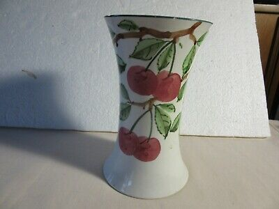 WEMYSS Cherries Pattern Waisted Trumpet Vase.Impressed Marks. Height 6 . A/F. • 8£