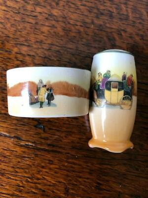 Very Rare Royal Doulton Coaching Scenes Pepper Pot And Salt • 8.50£