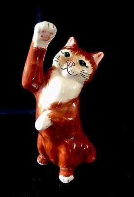 Rare Babbacombe Pottery Ginger And Cream Cat. Standing/Climbing Position • 25£