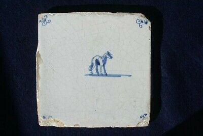 18th Century Dutch Delft Blue And White Tile Of A Horse • 14.50£