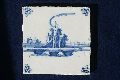 18th Century Dutch Delft Blue And White Tile With Stylised Building  • 7.39£