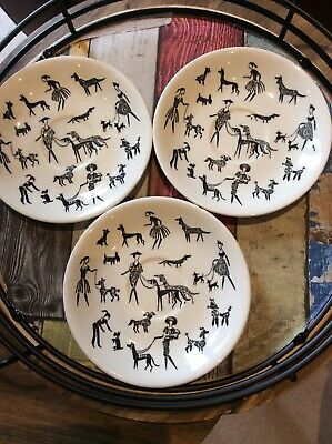 Alfred Meakin Black & White Saucer - Ladies Walking Poodles, Dogs 1950s • 15£