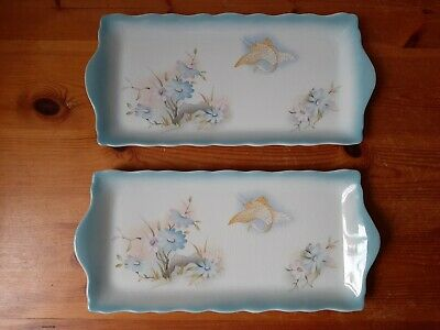 Pair Of Vintage James Kent Old Foley Sandwich Tray Regal 11 Inches England. • 6£