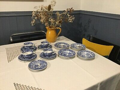 Spode Blue Italian Tea Cups And Saucers,Tea Plates, Cereal Bowls • 20£