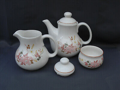 Boots Hedge Rose Stoneware Teapot, Large Milk Jug, Sugar Bowl And Spare Lid • 10£