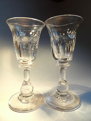 Pair Of Georgian Drinking Glasses With Baluster Stems #2 • 14.99£