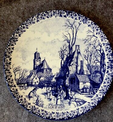 """Stunning Large Vintage Delft Blauw Plate Wall Charger  De Winter"""" D • 17.99£"""