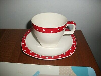 Midwinter Red Domino Cup And Saucer • 16£