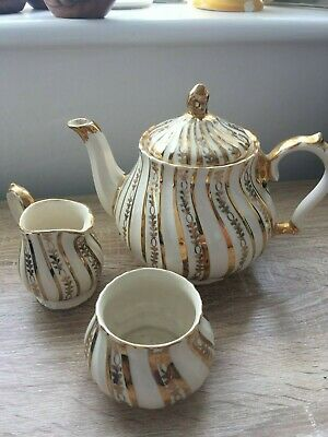 Antique Sadler Teapot In Cream And Gold 2988 With Creamer And Sugar Bowl • 25£
