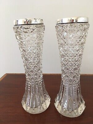 Victorian Lead Crystal Silver Rimmed Pair Vases • 5£