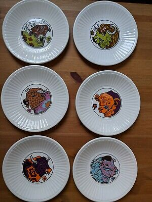 6 Round Beefeater Plates * 7  Plates * Some Crazing • 6.50£