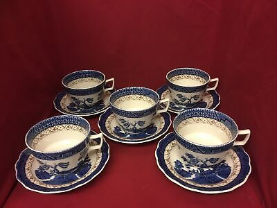 Set Of 5 Royal Doulton Booths Real Old Willow Tea Cup & Saucer • 25£