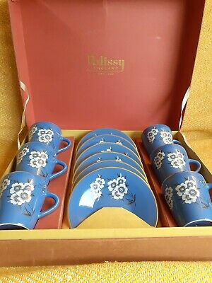Vintage 50's Palissy 'Canton' Royal Blue Coffee Set Butterflies Flowers Boxed • 23.79£