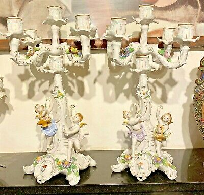 A Very Large Pair Of Beautiful Detailed Porcelain Cherub 16  , 5 Arm Candelabra. • 130£