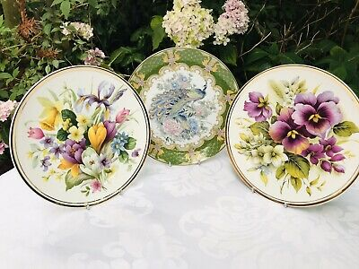 Vintage Peacock & Flowers Display Plates Collector Plates 20cm Diameter • 8£