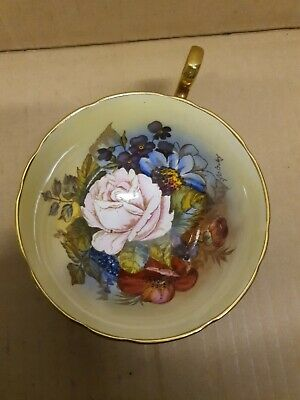 Rare Vintage Aynsley Cup Cabbage Rose Signed By JA Bailey Maroon Red  • 50£