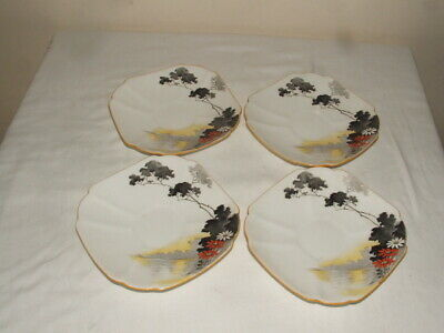 SHELLEY ART DECO QUEEN ANNE 4 X SUNSET & FLOWERS SAUCERS TRULY STUNNING  • 9.99£