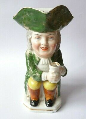 Edme Samson Toby Jug Holding Pitcher 19th Century Porcelain Pottery Gold Anchor • 5.99£