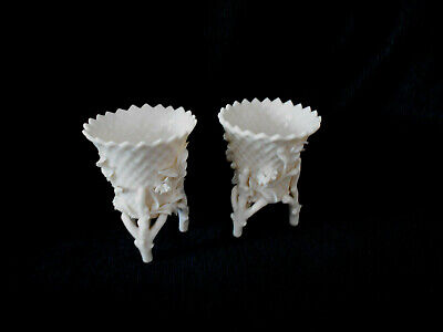 Irish Belleek Pair Of Footed Flowered Rustic Spills Second Black Mark Period • 29£