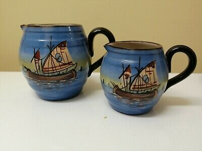 Unusual Watcombe Pottery Boat Scenes • 20£