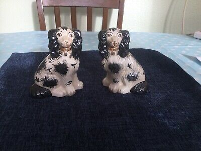 Vintage Small Pair Of Black And White Staffordshire Flatback Spaniels. • 29.99£