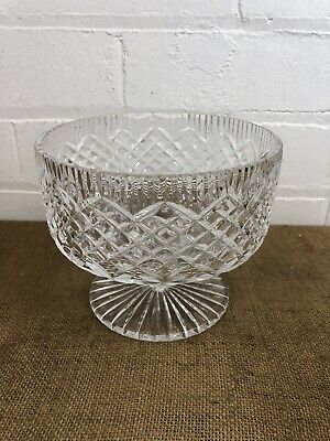 Stunning Vintage Tyrone Crystal Cut Glass Fruit Bowl With Stem - Excellent • 25£