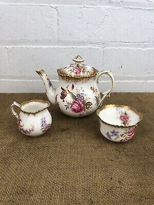 Antique Hammersley Breakfast Miniature Teapot Creamer Sugar Bowl Dresden • 155£