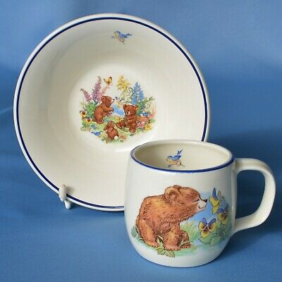 Vintage 1970's Teddy Bear Cup & Bowl Nursery China Set Prinknash Pottery VGC • 13£