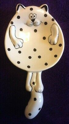 Spoon Rest Cat, China, White With Black Spots, 8 X 4 Inches  • 8£