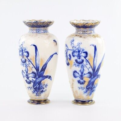 A Pair Of Blue Flow Orchid Gilded Vases 11 Inches • 60£