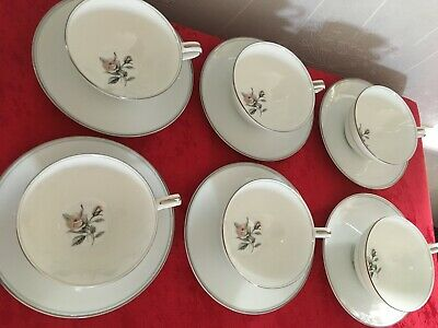 NORITAKE 'MARGOT' #5605 SET Of 6 X CUPS & SAUCERS EXCELLENT CONDITION • 15£