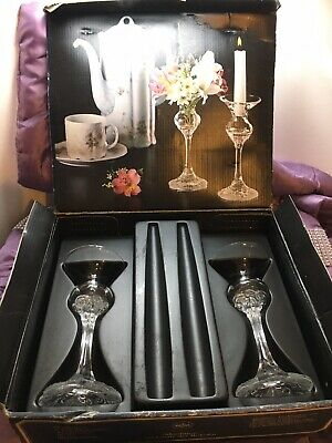 Rosenthal German Boxed Glass Clear 16cm Classic Rosecollection Candle Holders • 2.45£