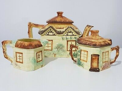 Keele Street Pottery Staffordshire Handpainted Cottage Ware 3 Piece Tea Pot Set • 18.95£