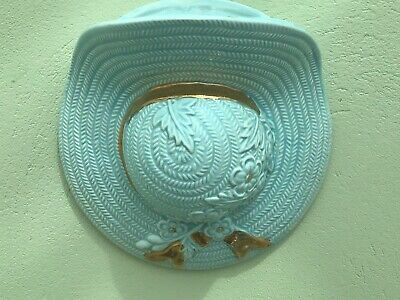 Vintage 50s Straw Hat Ceramic Wall Pocket • 7.50£
