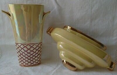 Vintage Art Deco Style Yellow Lustreware Gilt Edged Wall Pocket & Vase Sadler? • 15.99£