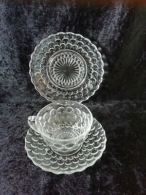 Clear Bubble Glass Tea Trio Fab Herbal Teas Cup Saucer Plate Depression Glass? • 9.99£
