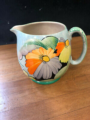 GRAYS POTTERY Jug. Art Deco Hand Painted. Prob  Susie Cooper  Stamped Numbered • 39£