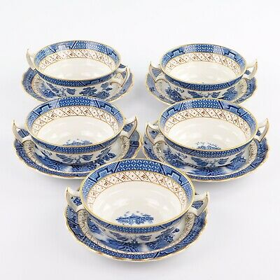 Booths Real Old Willow Gilded 5 X Twin Handled Soup Coups And Saucers • 88£