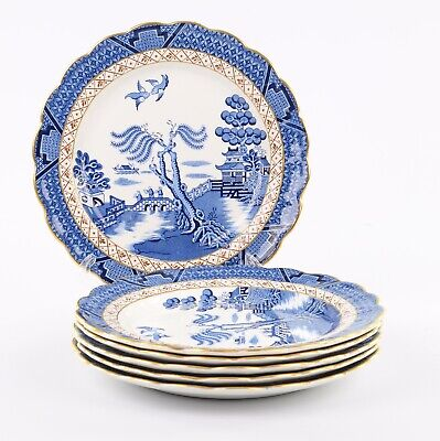 Booths Real Old Willow Gilded 6 X Medium Dinner Plates, 9.75 Inches • 70£