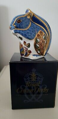 Royal Crown Derby Paperweight Debenhams Blue Squirrel 1998 Gold Stopper • 30£