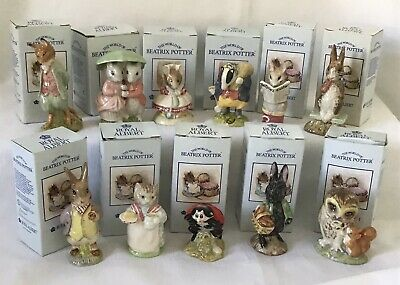 Lot X 10 Beatrix Potter Royal Albert Figurines Tommy Brock Ribby Boxed All Great • 26£