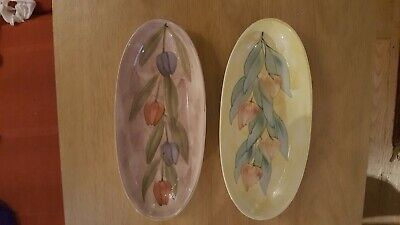 Jersey Pottery Plate X 2., Tulip Patterns . • 6£