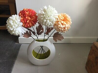 Whie Vase With Mustard Colouring Inside • 7.50£