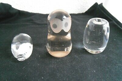 3 Small Vintage Glass Paperweights Owl, Barrel, Pig • 1.90£
