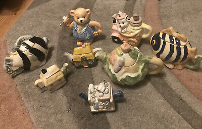 Novelty Teapots 8 In Total Vintage Collectable • 30£