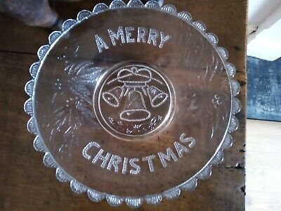 Antique Davidson Pressed Glass A Merry Christmas Shallow Bowl Victorian 1880s • 22£