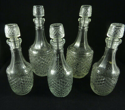 Vintage Moulded Glass Decanters – Set Of Five - 3 Small, 2 Large • 14.99£